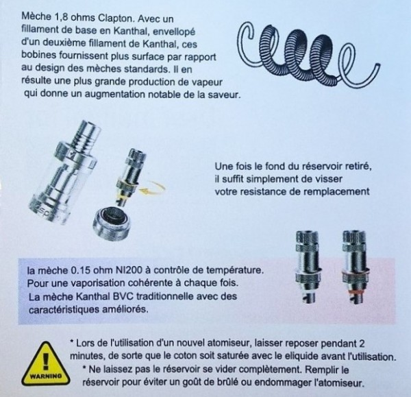 instruction des mèches Aspire Triton Mini